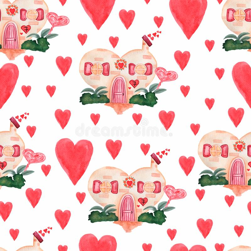 Pattern of Cute watercolor house for Valentine`s Day, with hearts,bushes and leaves on a white background. sandy color and red vector illustration