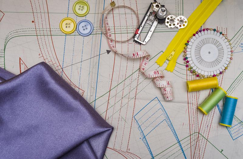 Pattern cutting and sewing stock image. Image of cotton - 112558531