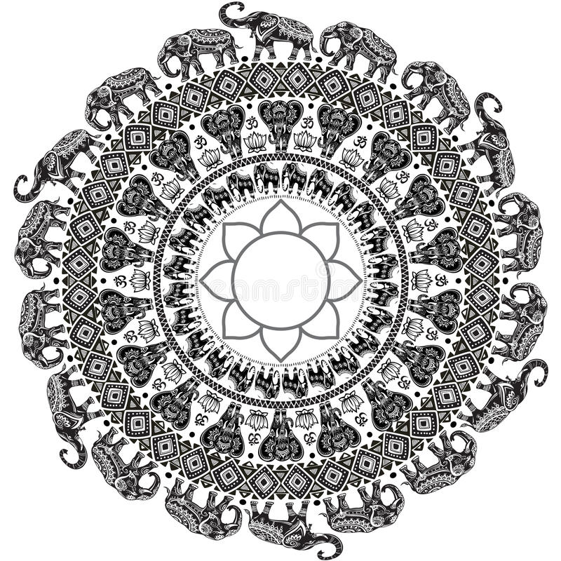 Pattern with decorated elephants. Round pattern with decorated elephants stock illustration