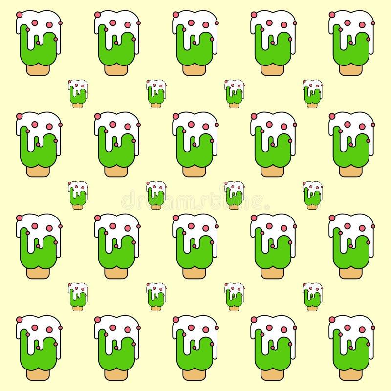 Print Ice cream green pattern vector stock illustration