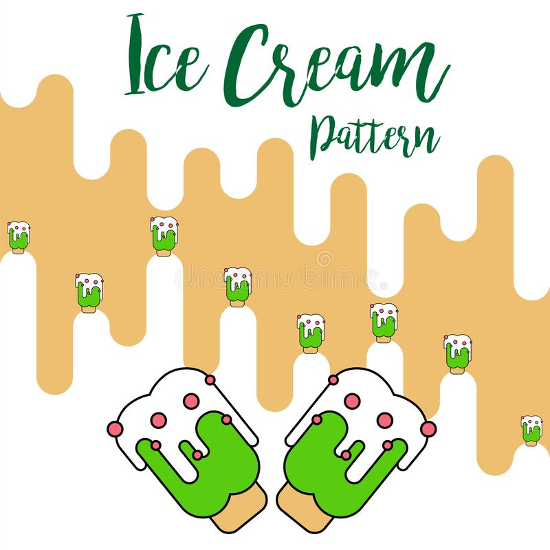 Print Ice cream green pattern vector royalty free illustration