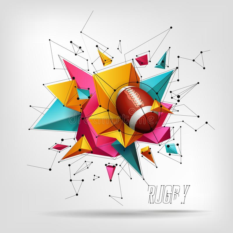 Design with rugby ball. Pattern design with Rugby ball, 3D realistic abstract background with triangles stock illustration