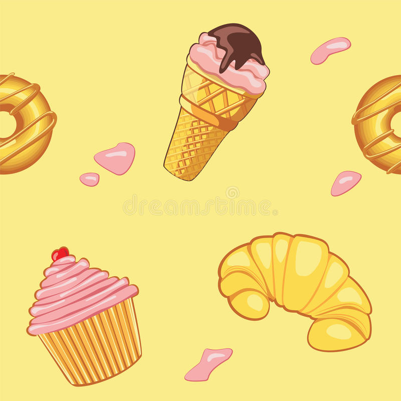 Pattern with desserts vector illustration