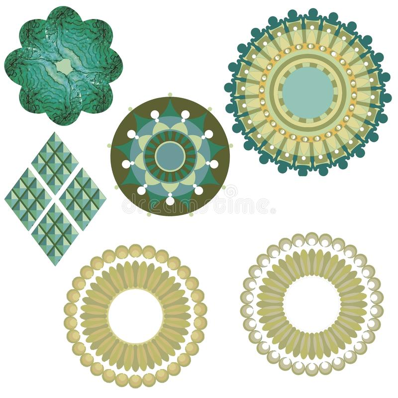 Pattern details. Artistic picture pattern light nice lovely beautiful cute art textile scarf accessories wall circles color geometric color green light white stock illustration