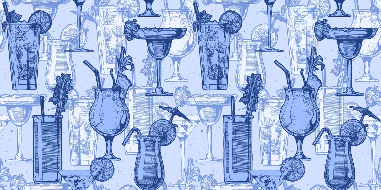 Pattern with different cocktails vector illustration