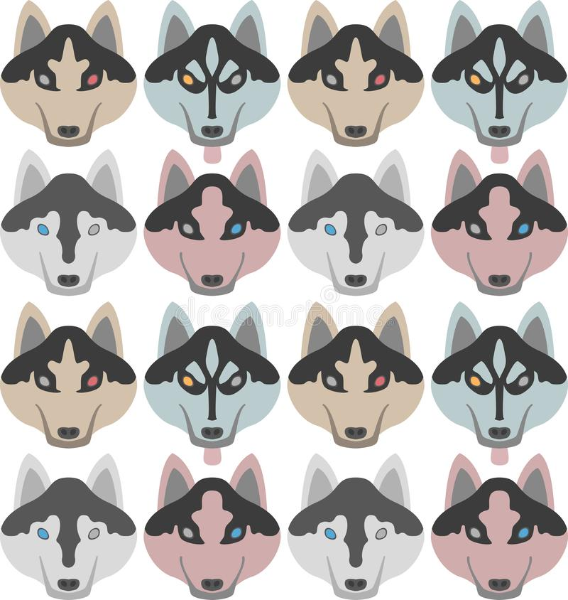 Pattern of dogs with bones and paws. Seamless Haski, Labrador, Chihuahua, Pug, Dalmatian. royalty free illustration