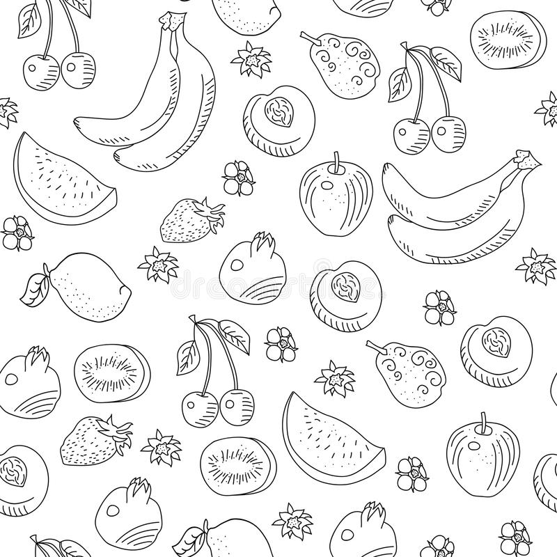 The pattern of doodle of fruit royalty free illustration