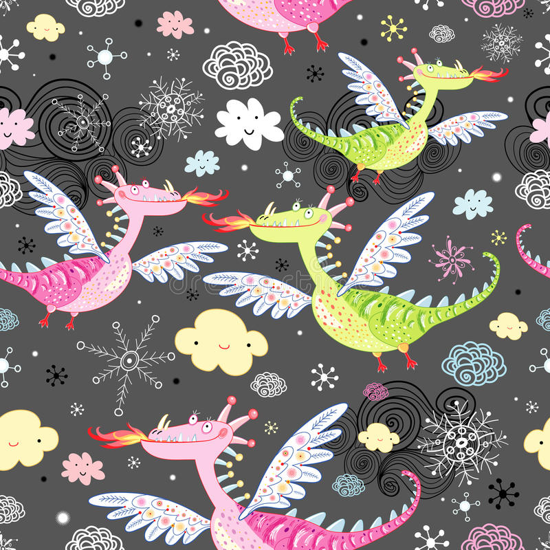 Pattern of dragons royalty free illustration
