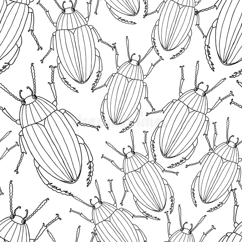 Pattern of the drawn beetles royalty free illustration