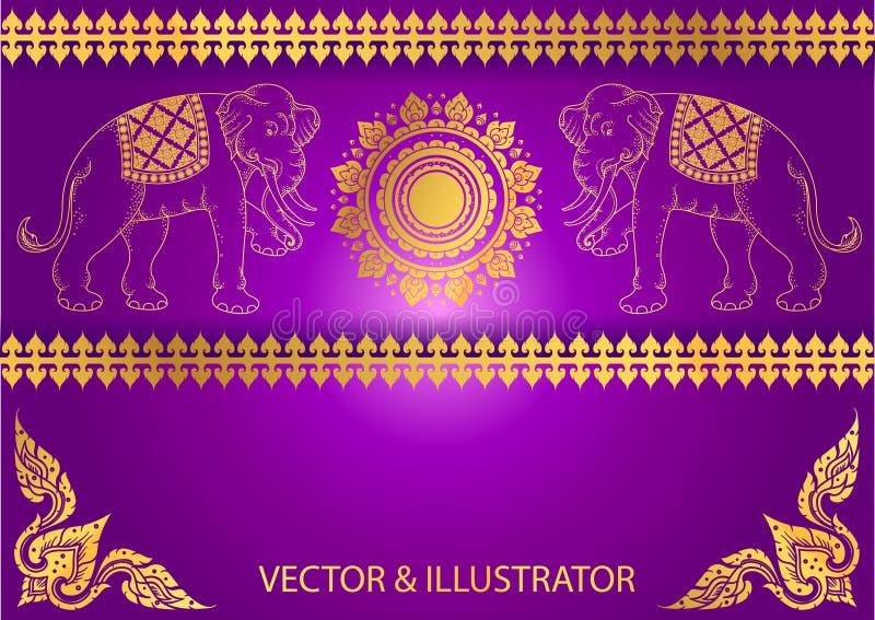 Pattern Elephant outline thai tradition. Illustrator royalty free illustration