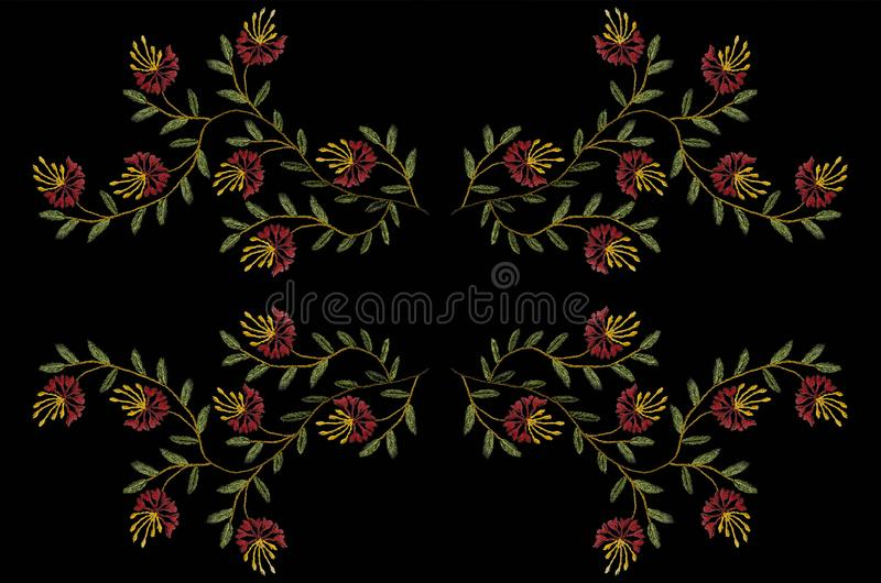 Pattern for embroidery with a satin stitch of wavy twigs with green leaves and red carnations. Black background with pattern for embroidery with a satin stitch vector illustration