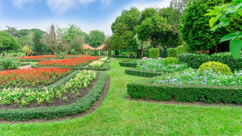 Pattern of English formal garden style, gardens with geometric shape of bush and shrub, decoration with colorful flowering plant royalty free stock images