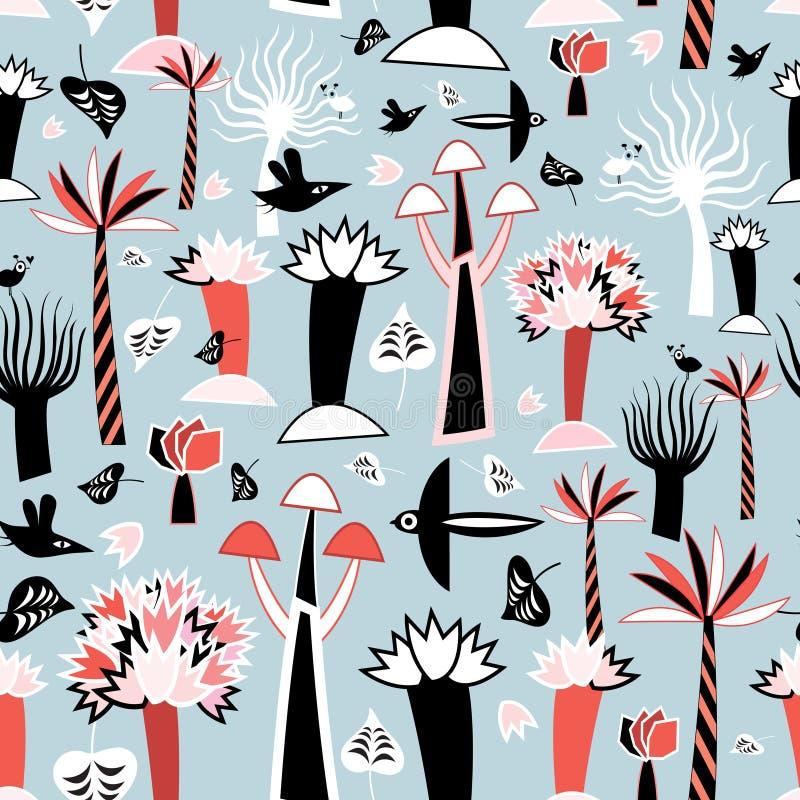 Pattern fabulous trees royalty free illustration