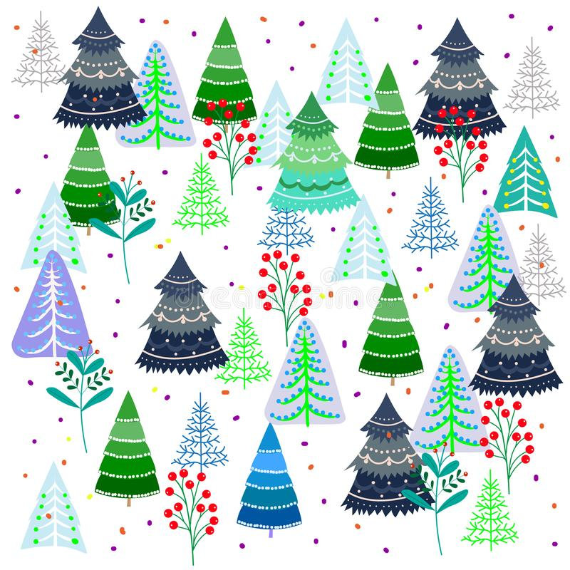 Pattern of fantastic trees on a white background, Christmas fantasies, vector illustration royalty free illustration