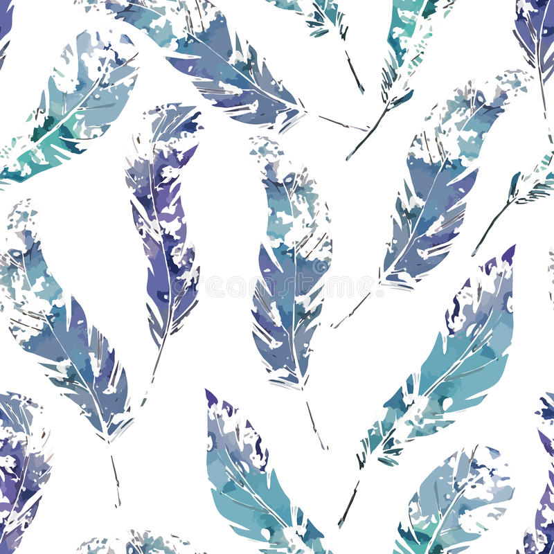 Pattern of feathers. Illustration of a pattern with watercolor feathers vector illustration