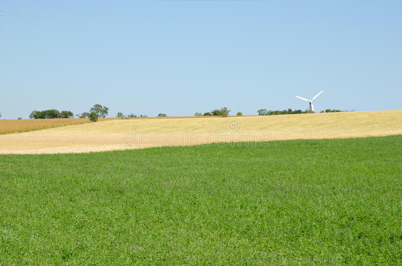 Pattern of fields. And a windmill royalty free stock photo
