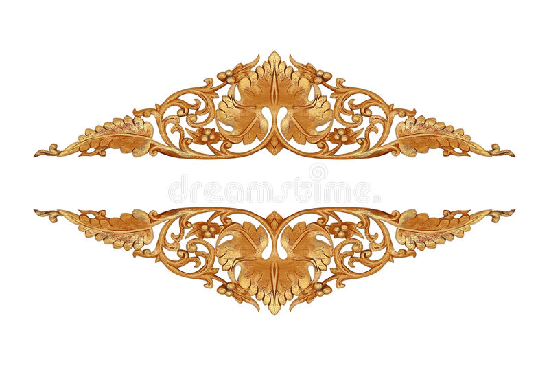 Pattern of flower carved on wood for decoration. Isolated on white background stock photos