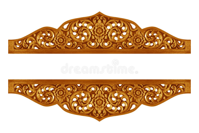 Pattern of flower carved on wood for decoration. Isolated on white background royalty free stock photography