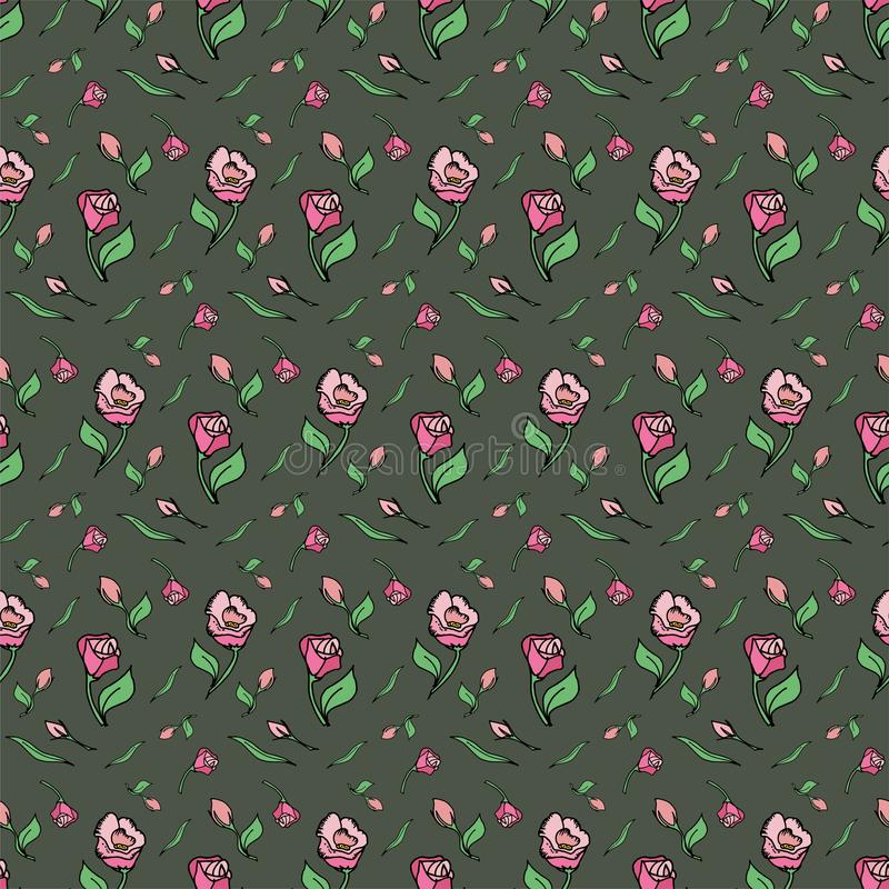 Pattern flower pink rose green background spring stock photography