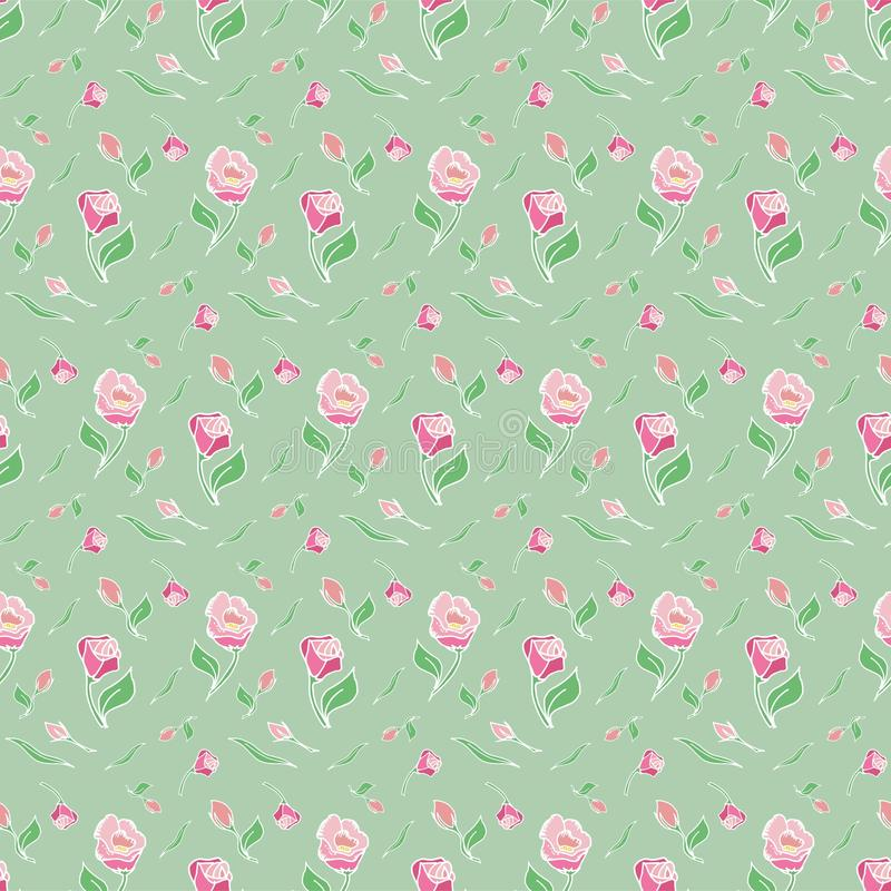Pattern flower pink rose green background spring royalty free stock photos