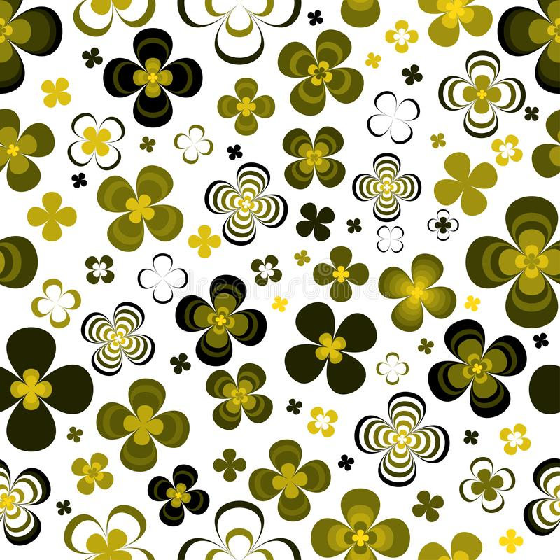 Abstract yellow green flowers on white background.Seamless pattern. stock illustration