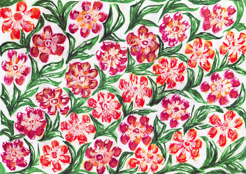 Pattern with flowers. Watercolor drawing pattern with flowers royalty free stock images