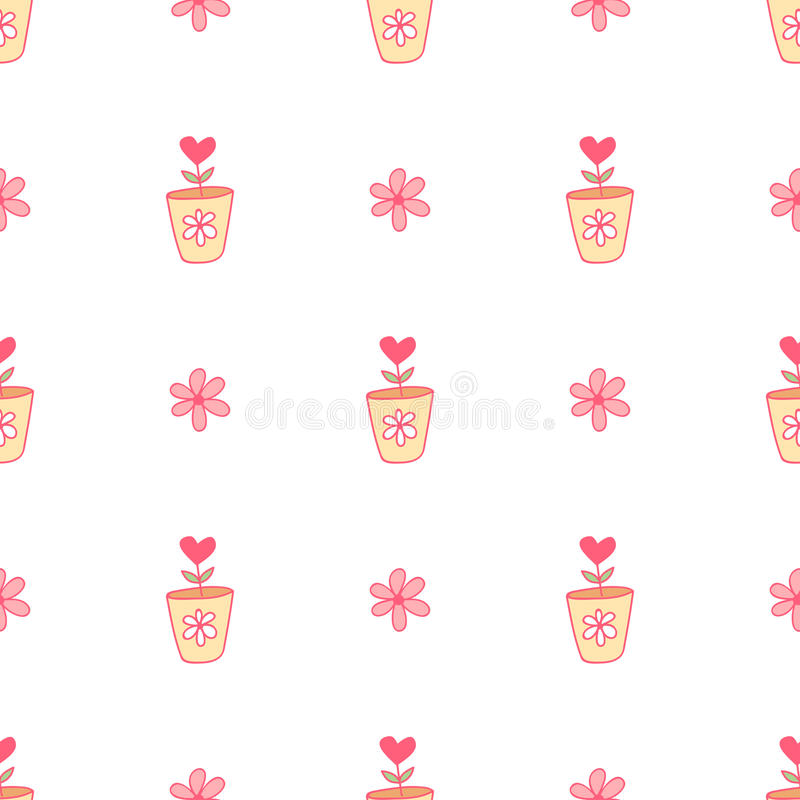 Download Pattern With Flowers And Hearts On A White Background. Stock Illustration - Illustration of background, doodle: 83715382