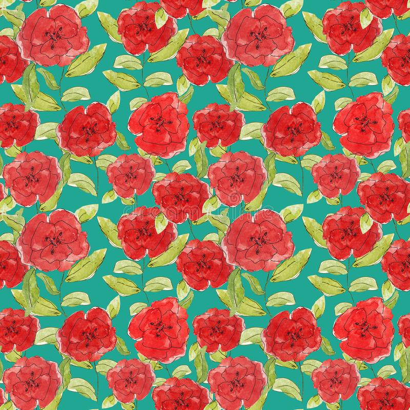 Pattern flowers red poppies illustration leaves branches buds print clothes textile background Wallpaper scrapbooking vintage royalty free illustration