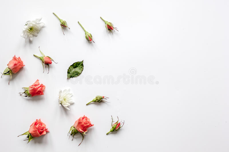 Pattern of flowers on white background top view mock up.  stock photo