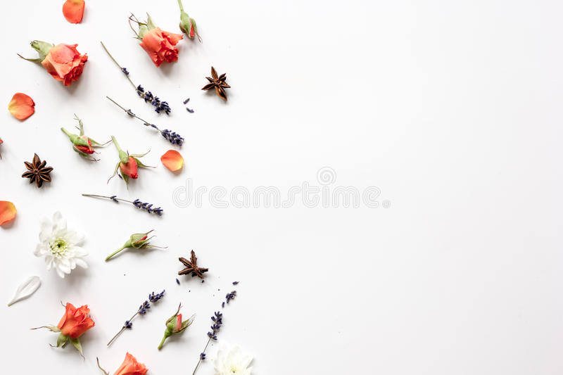 Pattern of flowers on white background top view mock up.  royalty free stock photography