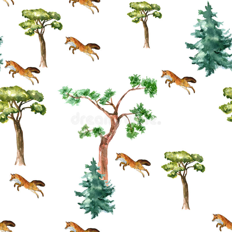 Pattern Fox and tree. royalty free stock photo