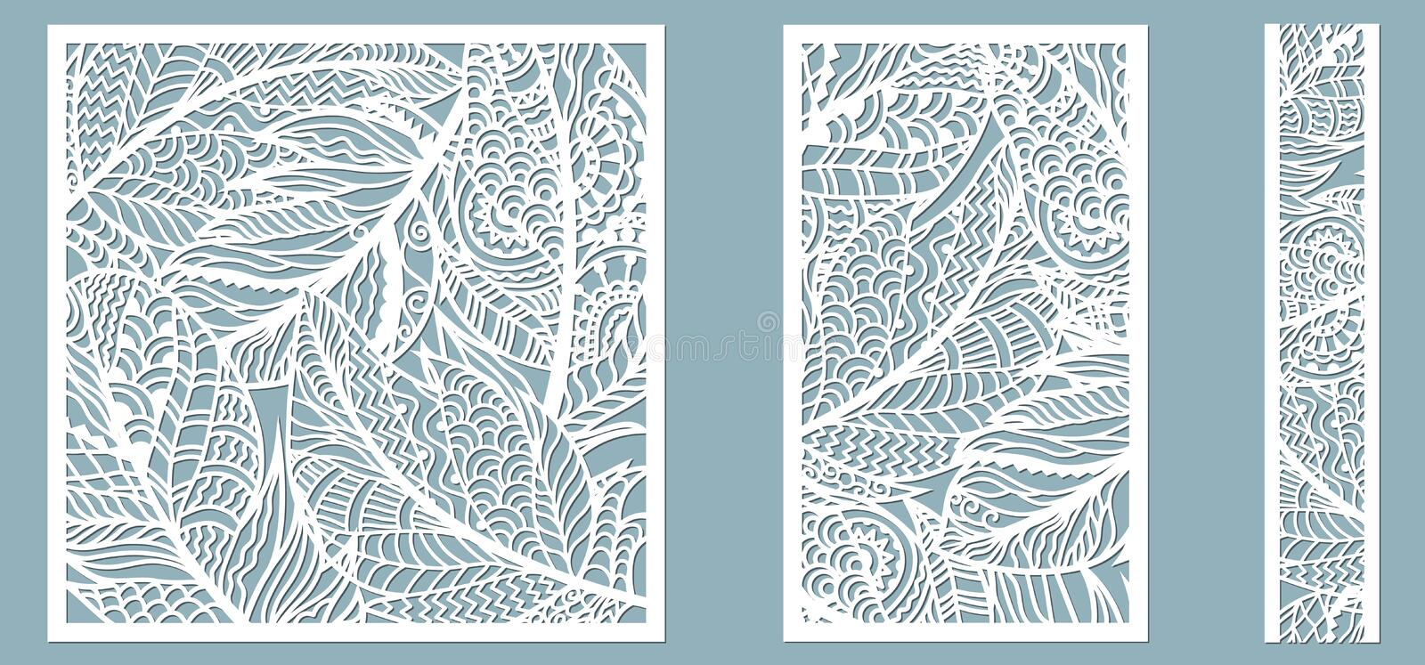 Pattern frame with feathers. Line, rectangle, square as a pattern of feathers. Template for laser, plotter cutting vector illustration
