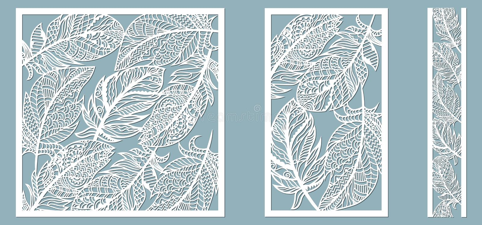 Pattern frame with feathers. Line, rectangle, square as a pattern of feathers. Template for laser, plotter cutting stock illustration