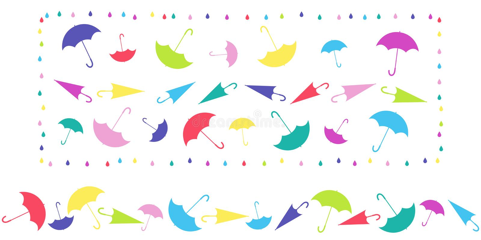Pattern in frame and horizontal pattern from umbrellas in different positions on white background. Pattern in frame and horizontal pattern from umbrellas in vector illustration