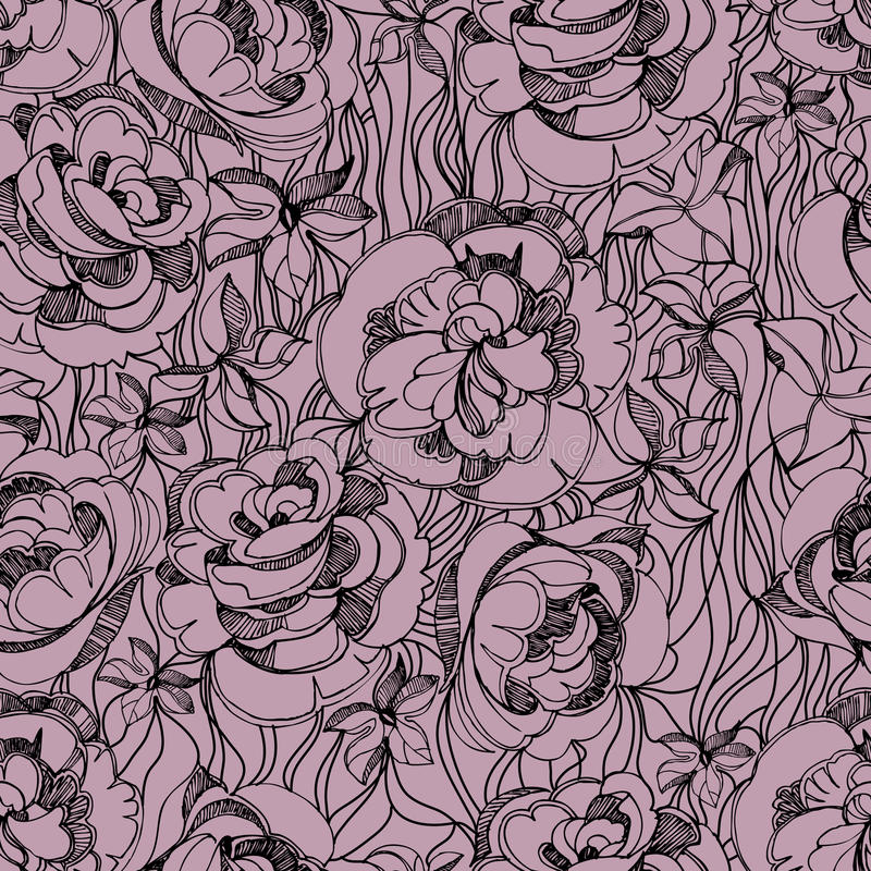 Pattern With Freehand Sketch Of Roses Stock Photography