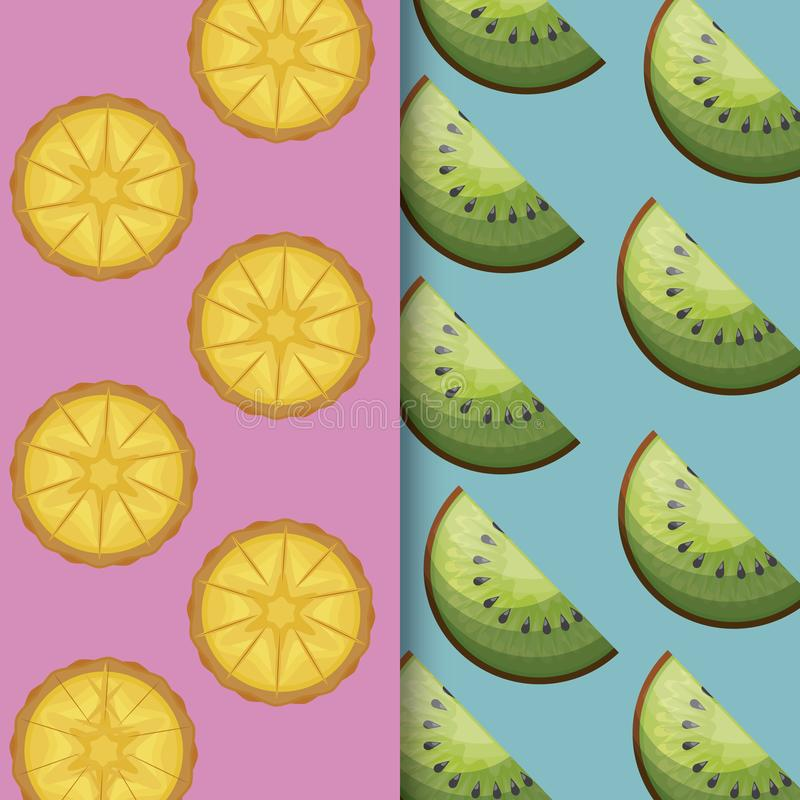 Pattern of fresh oranges and kiwi. Vector illustration design royalty free illustration