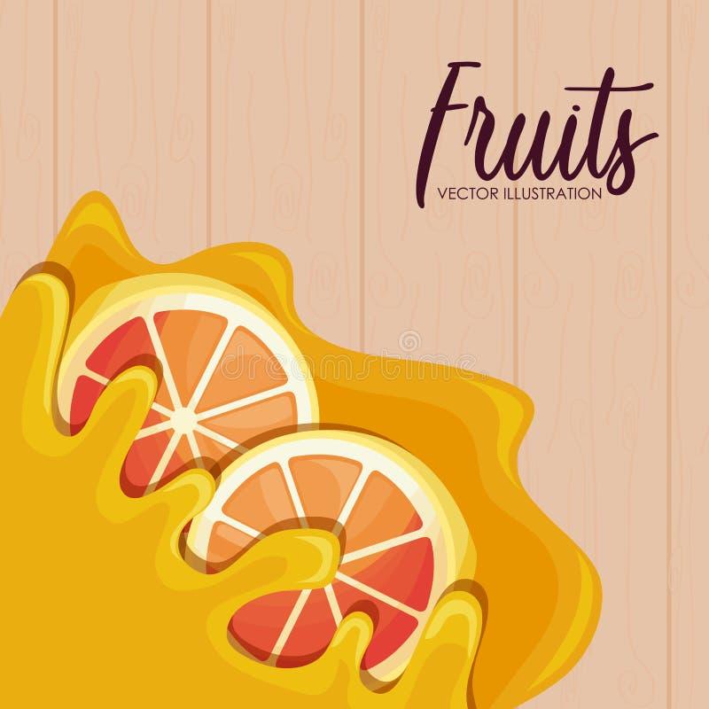 Pattern of fresh oranges sliced fruit stock illustration
