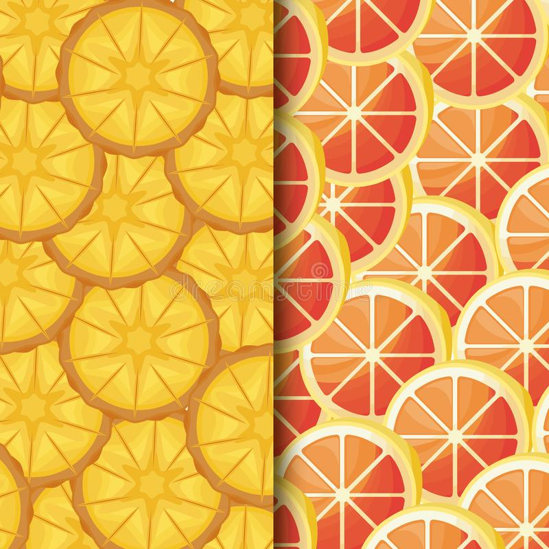 Pattern of fresh oranges sliced and pineapples stock illustration