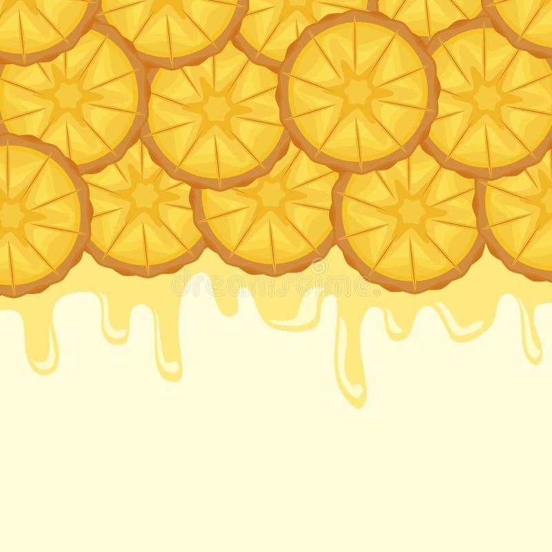 Pattern of fresh pineapples sliced fruit vector illustration