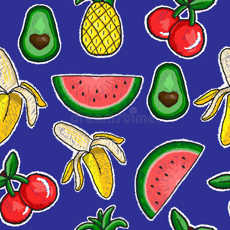 Pattern of fruits embroidery. Patch vector illustration
