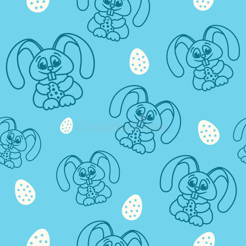Pattern fun easter bunny with easter eggs seamless texture blue vector illustration