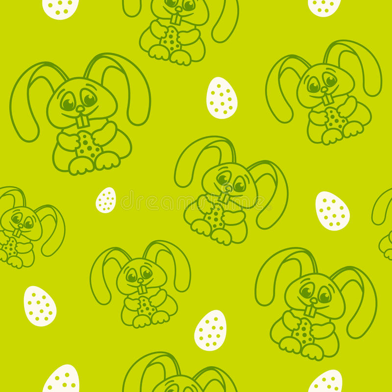 Pattern fun easter bunny with easter eggs seamless texture green.  stock illustration