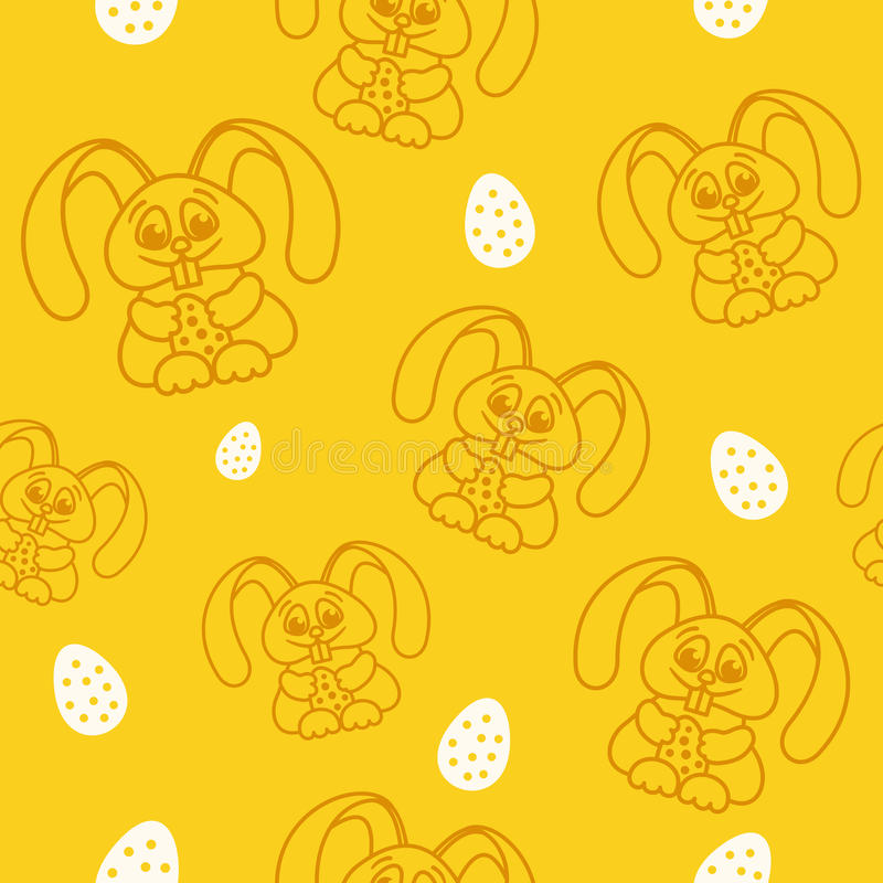 Pattern fun easter bunny with easter eggs seamless texture orang royalty free illustration