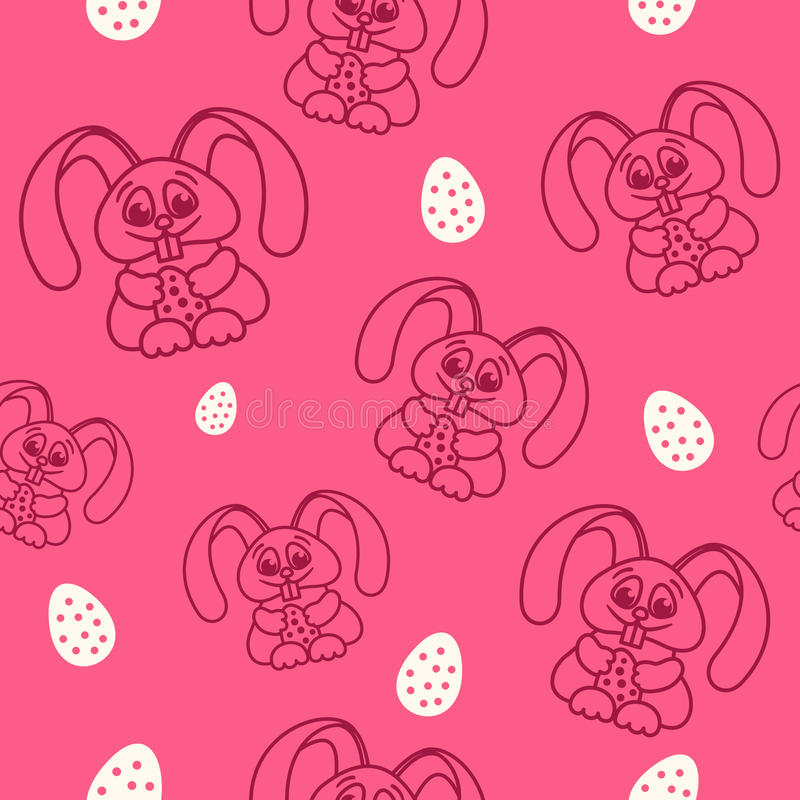 Pattern fun easter bunny with easter eggs seamless texture red royalty free illustration