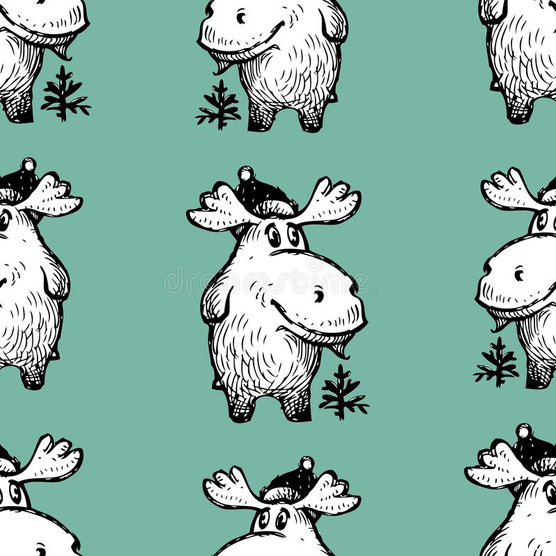 Pattern of the funny cartoon deers vector illustration