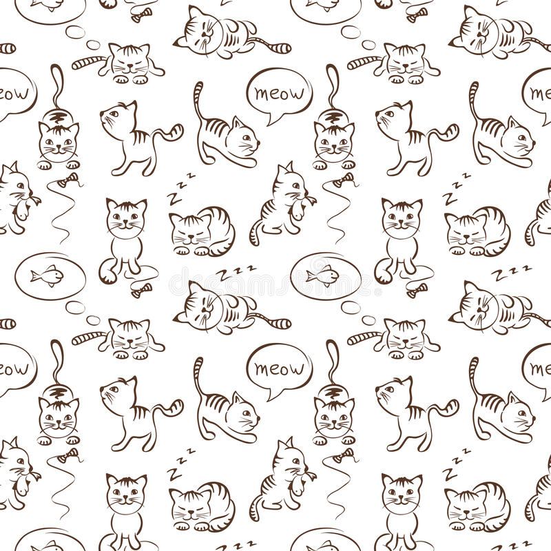 Pattern of funny cats, seamless vector illustration