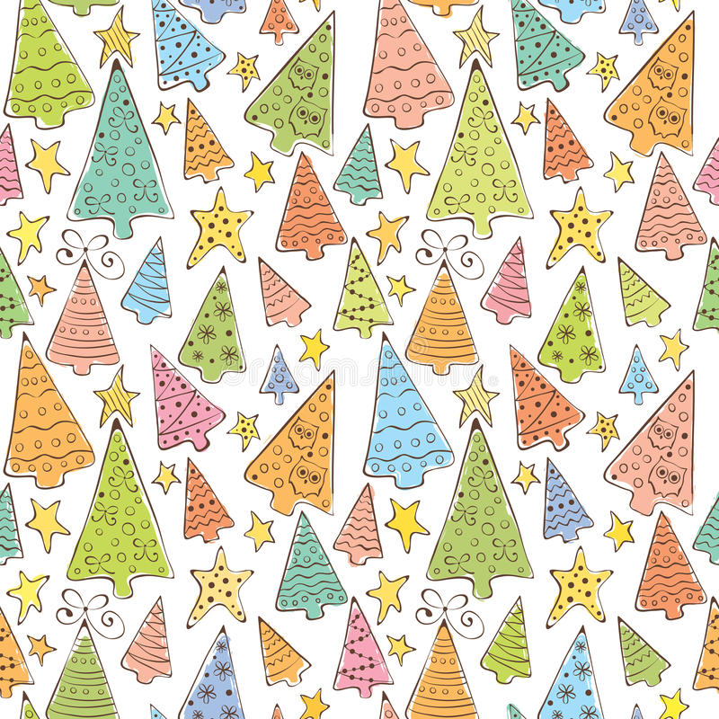 Pattern with funny christmas trees stock illustration