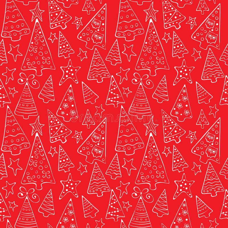 Pattern with funny Christmas trees vector illustration