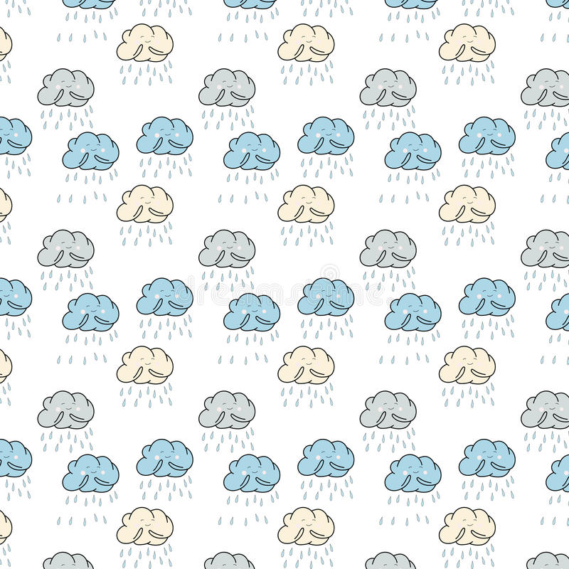 Pattern with funny clouds stock image