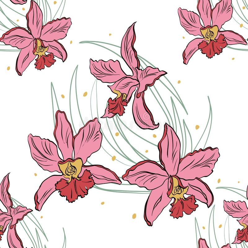 Seamless pattern of pink orchids on a white background. Orchid isolated stock illustration